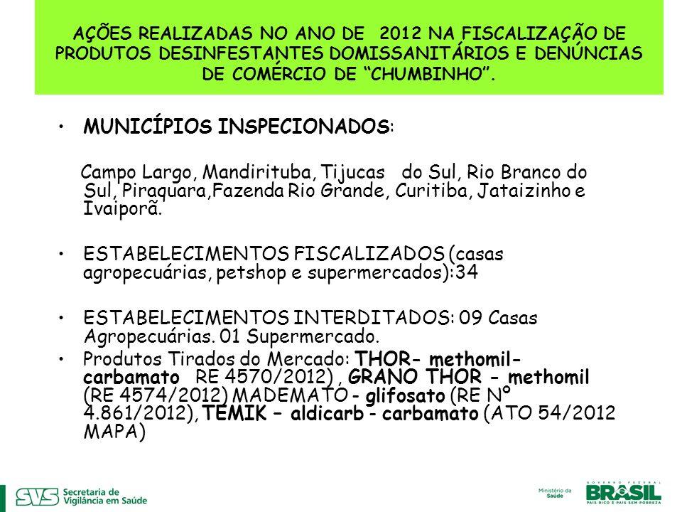 AÇÕES REALIZADAS NO ANO DE 2012 NA FISCALIZAÇÃO DE PRODUTOS DESINFESTANTES DOMISSANITÁRIOS E DENÚNCIAS DE COMÉRCIO DE CHUMBINHO .