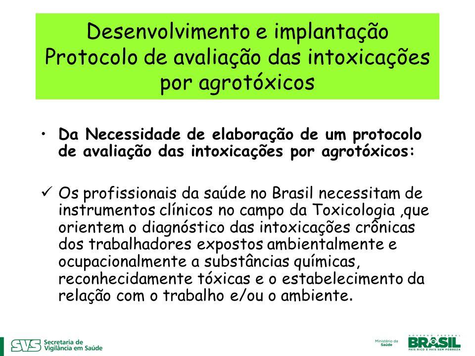 Desenvolvimento e implantação Protocolo de avaliação das intoxicações por agrotóxicos