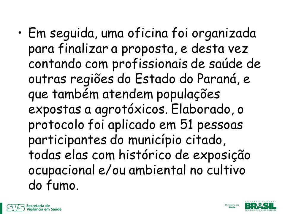 Em seguida, uma oficina foi organizada para finalizar a proposta, e desta vez contando com profissionais de saúde de outras regiões do Estado do Paraná, e que também atendem populações expostas a agrotóxicos.
