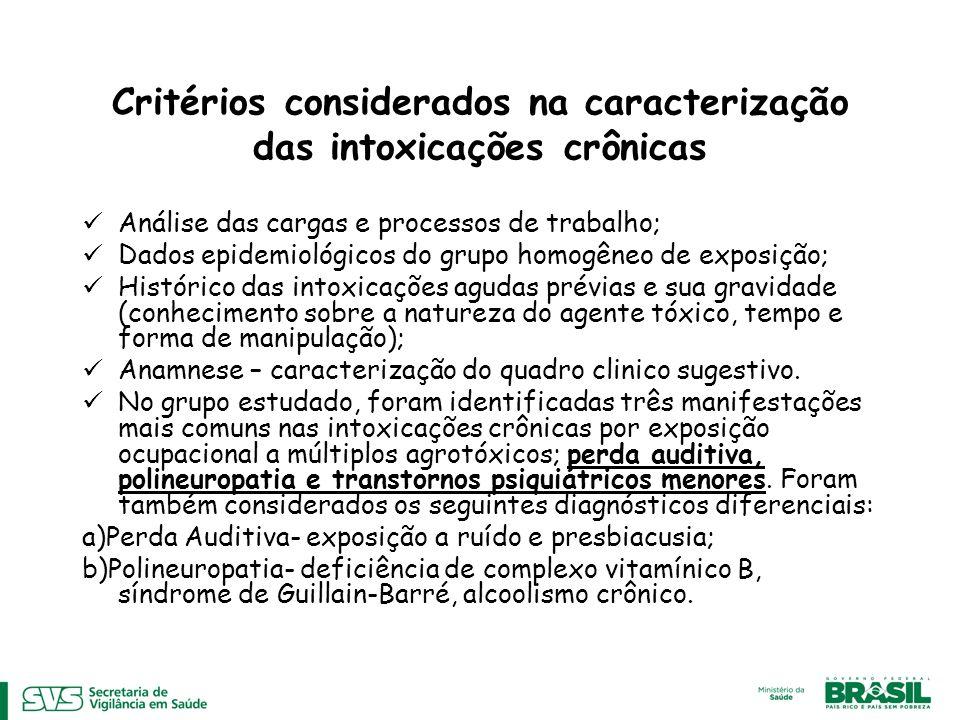 Critérios considerados na caracterização das intoxicações crônicas
