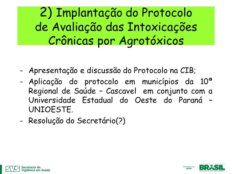 2) Implantação do Protocolo de Avaliação das Intoxicações Crônicas por Agrotóxicos