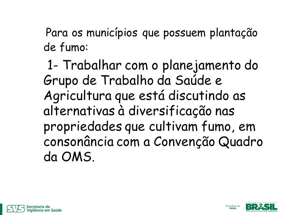 Para os municípios que possuem plantação de fumo: