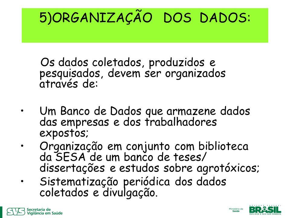 5)ORGANIZAÇÃO DOS DADOS: