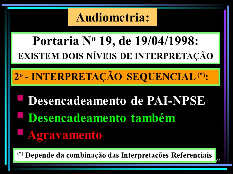 Audiometria: Portaria No 19, de 19/04/1998: