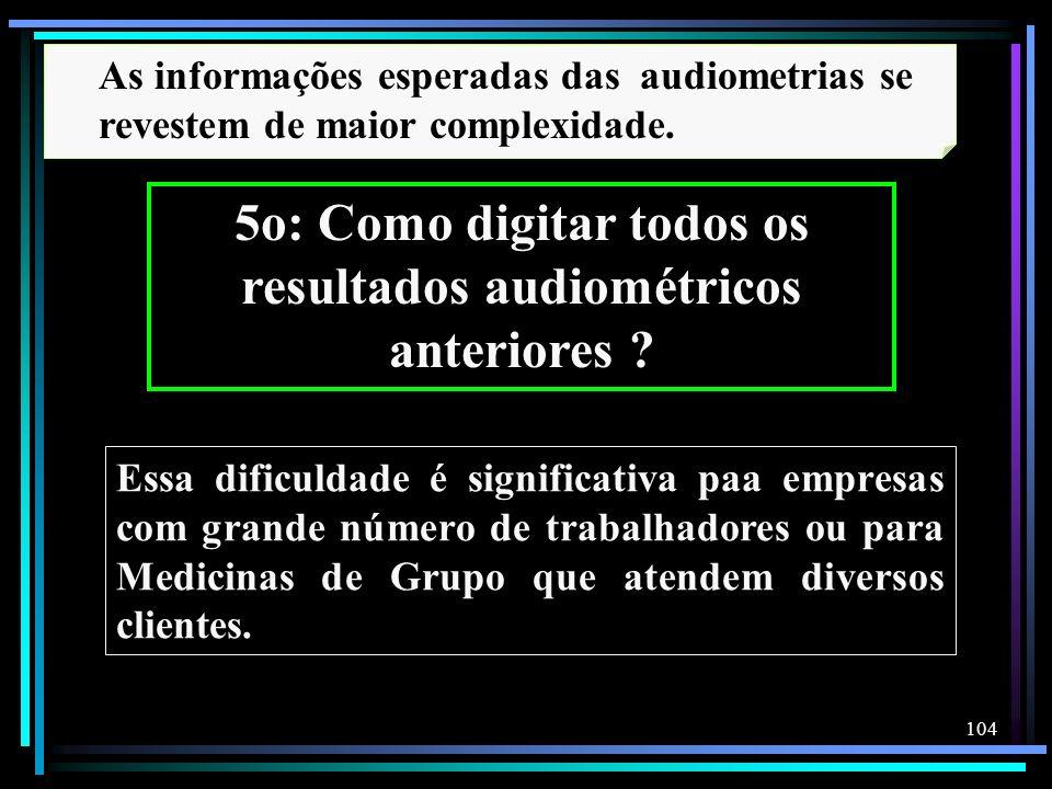 5o: Como digitar todos os resultados audiométricos anteriores