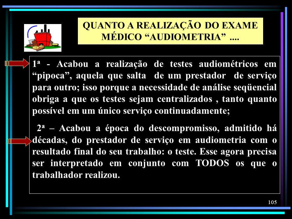 QUANTO A REALIZAÇÃO DO EXAME MÉDICO AUDIOMETRIA ....