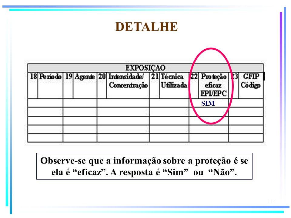 DETALHE SIM. Observe-se que a informação sobre a proteção é se ela é eficaz .