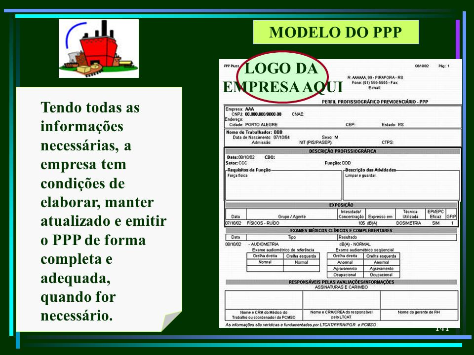 MODELO DO PPP LOGO DA. EMPRESA AQUI.