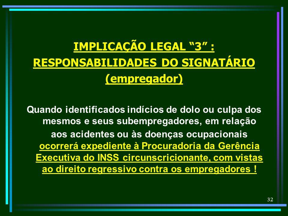 RESPONSABILIDADES DO SIGNATÁRIO