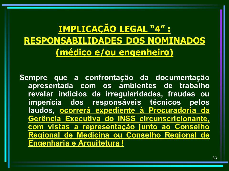 RESPONSABILIDADES DOS NOMINADOS (médico e/ou engenheiro)