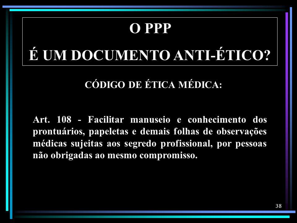 É UM DOCUMENTO ANTI-ÉTICO CÓDIGO DE ÉTICA MÉDICA: