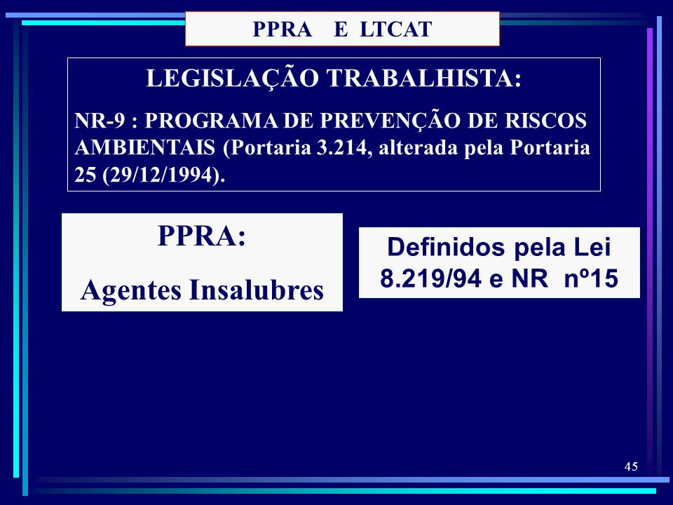 LEGISLAÇÃO TRABALHISTA: