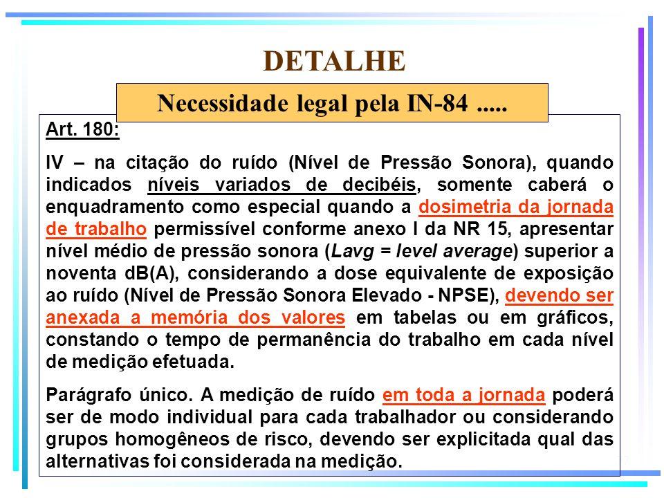 Necessidade legal pela IN-84 .....