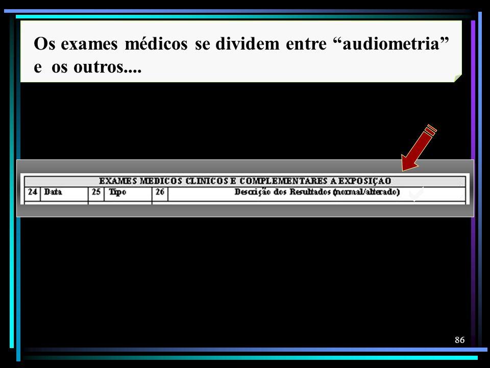Os exames médicos se dividem entre audiometria e os outros....