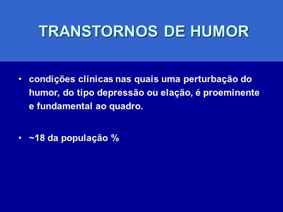 TRANSTORNOS DE HUMOR condições clínicas nas quais uma perturbação do humor, do tipo depressão ou elação, é proeminente e fundamental ao quadro.
