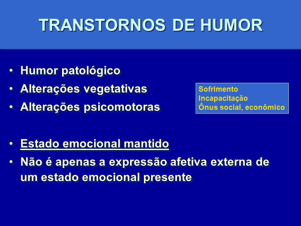 TRANSTORNOS DE HUMOR Humor patológico Alterações vegetativas