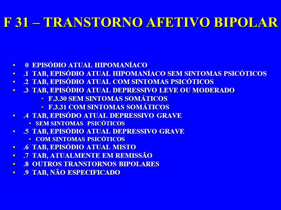 F 31 – TRANSTORNO AFETIVO BIPOLAR