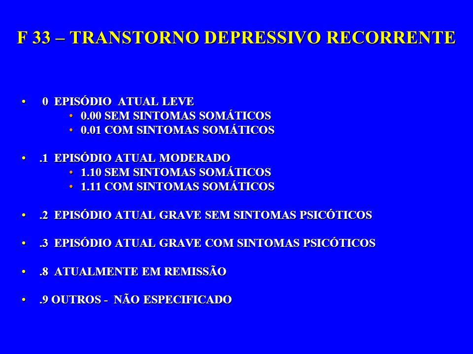 F 33 – TRANSTORNO DEPRESSIVO RECORRENTE