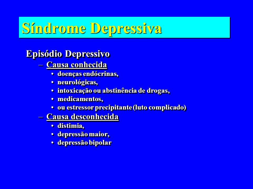 Síndrome Depressiva Episódio Depressivo Causa conhecida