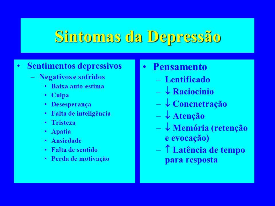 Sintomas da Depressão Pensamento Sentimentos depressivos Lentificado