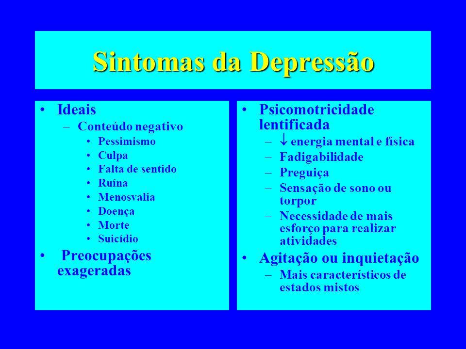 Sintomas da Depressão Ideais Preocupações exageradas