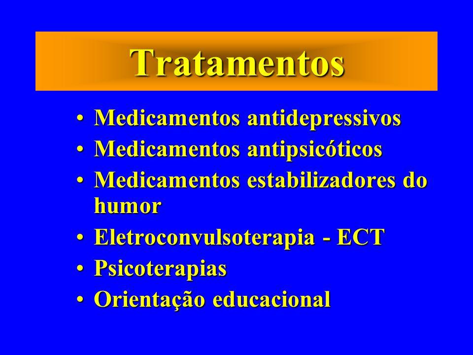 Tratamentos Medicamentos antidepressivos Medicamentos antipsicóticos