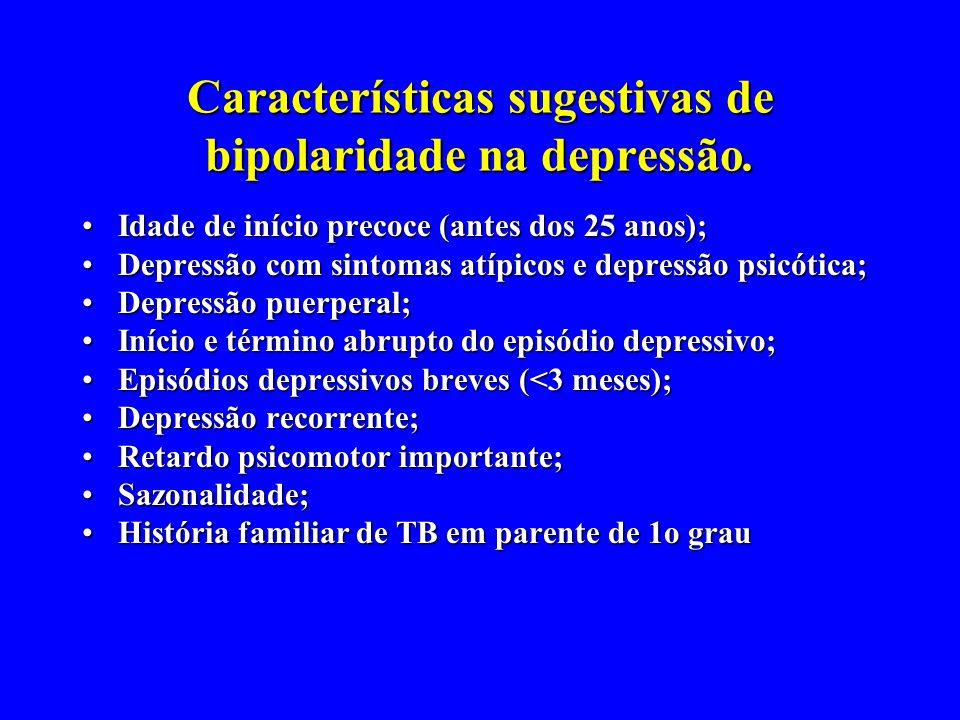 Características sugestivas de bipolaridade na depressão.