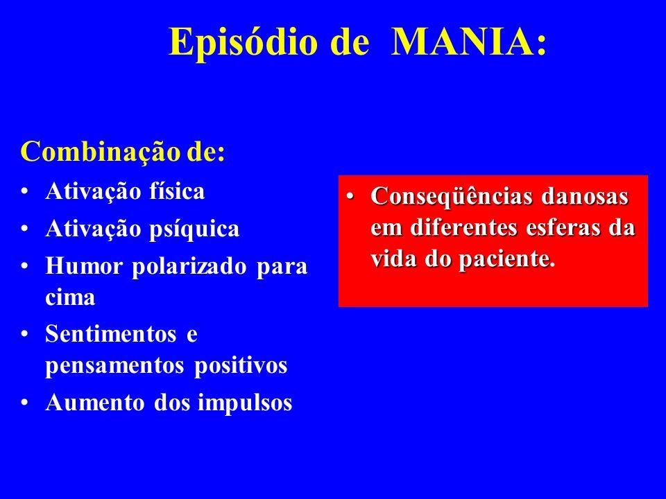 Episódio de MANIA: Combinação de: Ativação física Ativação psíquica