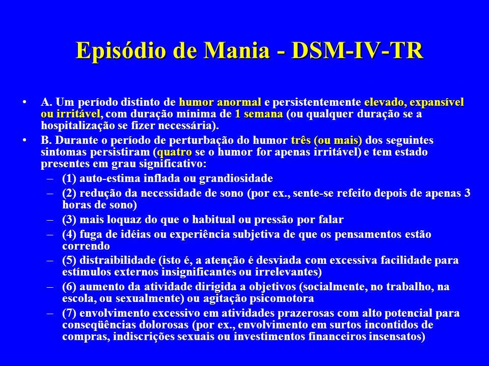 Episódio de Mania - DSM-IV-TR
