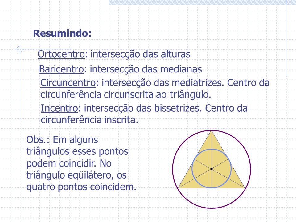 Resumindo: Ortocentro: intersecção das alturas. Baricentro: intersecção das medianas.