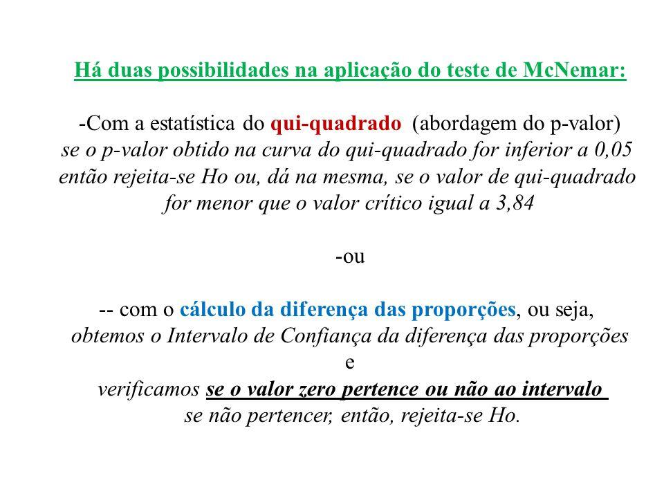 Há duas possibilidades na aplicação do teste de McNemar: