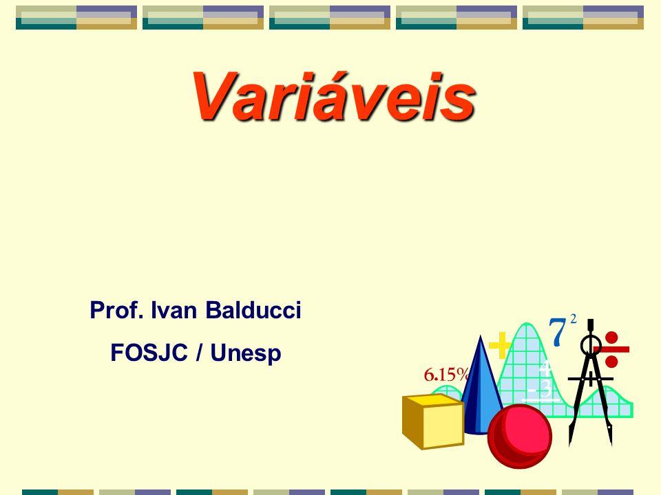 Variáveis Prof. Ivan Balducci FOSJC / Unesp