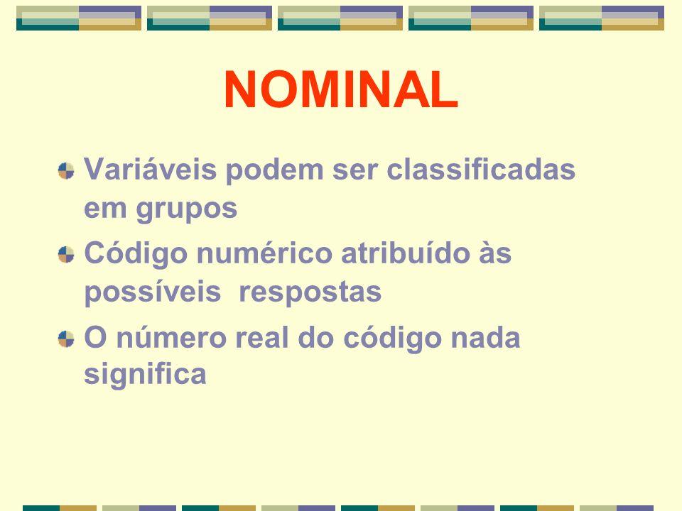 NOMINAL Variáveis podem ser classificadas em grupos