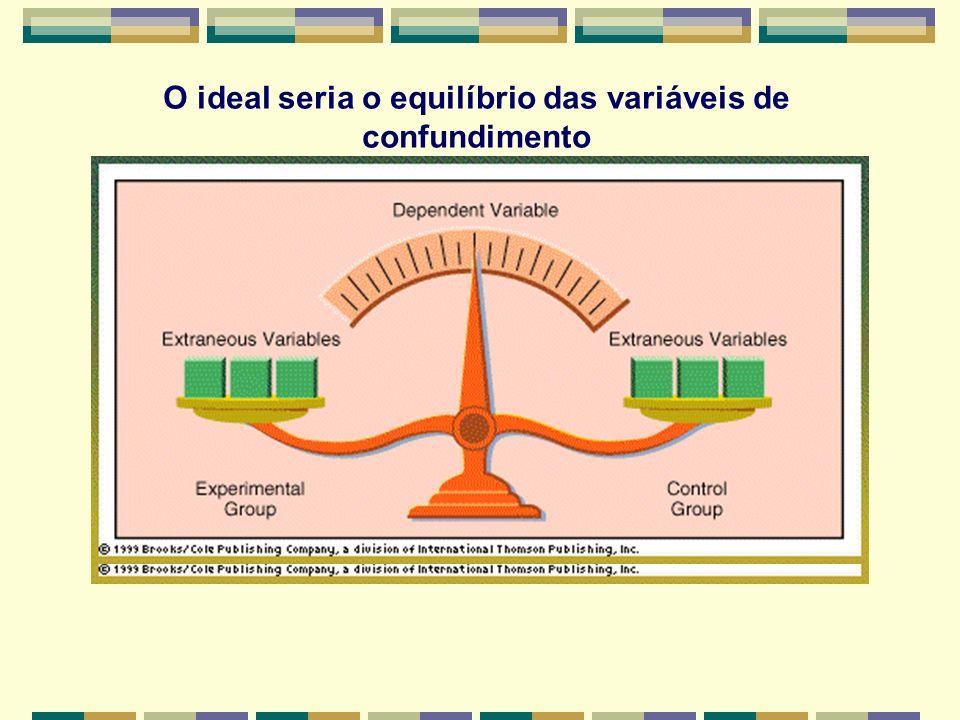 O ideal seria o equilíbrio das variáveis de confundimento
