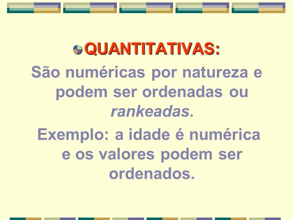 São numéricas por natureza e podem ser ordenadas ou rankeadas.