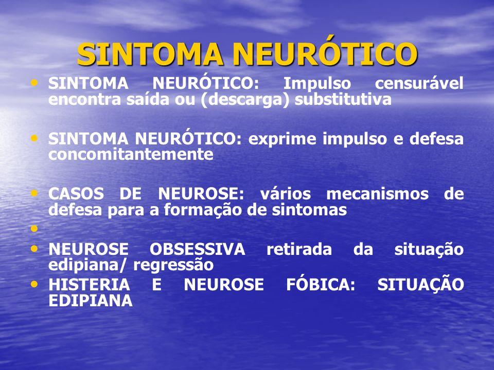 SINTOMA NEURÓTICOSINTOMA NEURÓTICO: Impulso censurável encontra saída ou (descarga) substitutiva.