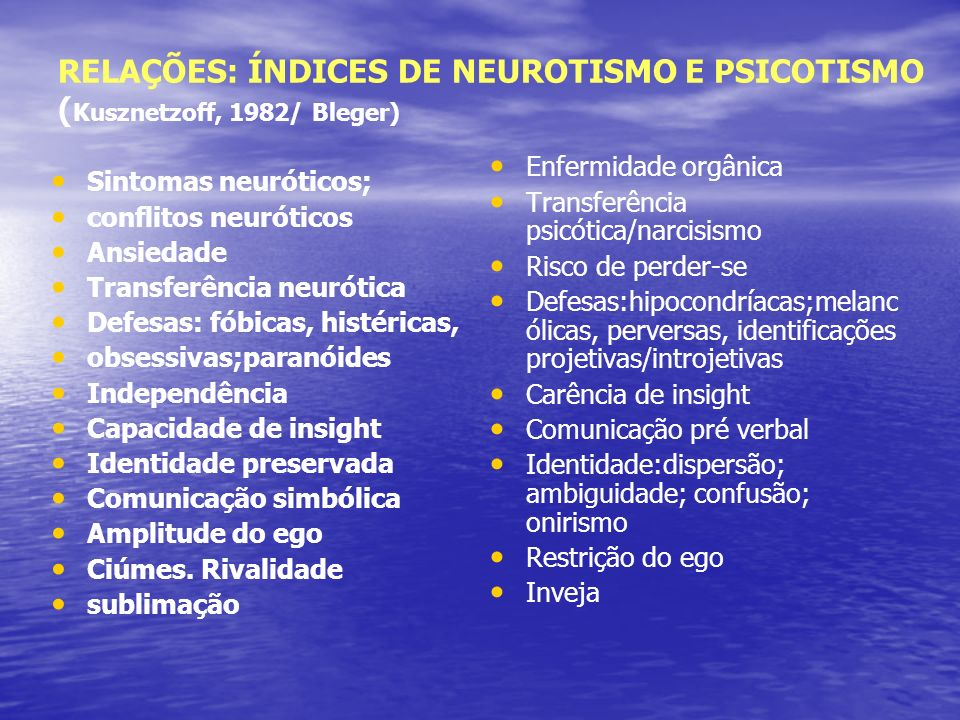 RELAÇÕES: ÍNDICES DE NEUROTISMO E PSICOTISMO (Kusznetzoff, 1982/ Bleger)