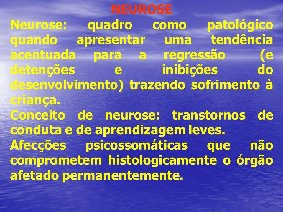 Conceito de neurose: transtornos de conduta e de aprendizagem leves.