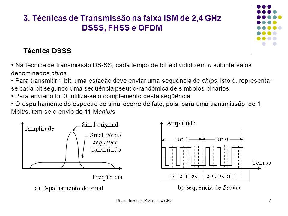 3. Técnicas de Transmissão na faixa ISM de 2,4 GHz DSSS, FHSS e OFDM