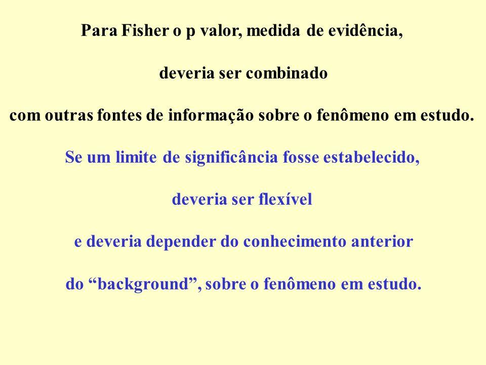 Para Fisher o p valor, medida de evidência, deveria ser combinado