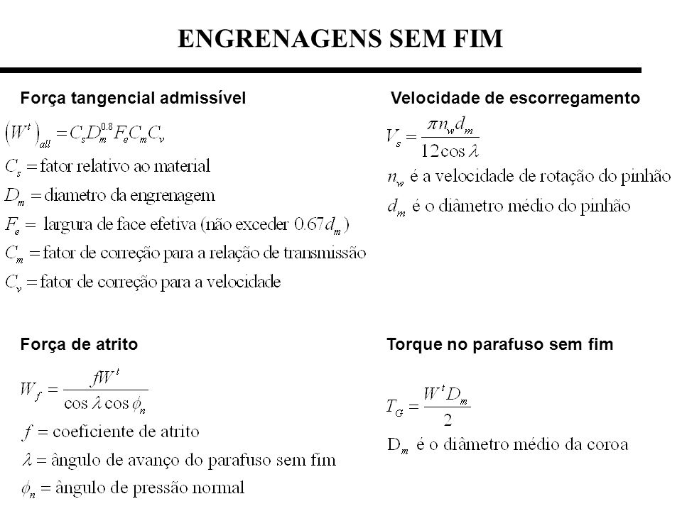 ENGRENAGENS SEM FIM Força tangencial admissível