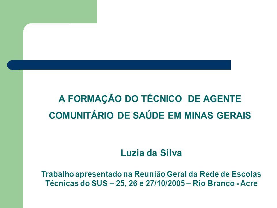 A FORMAÇÃO DO TÉCNICO DE AGENTE COMUNITÁRIO DE SAÚDE EM MINAS GERAIS