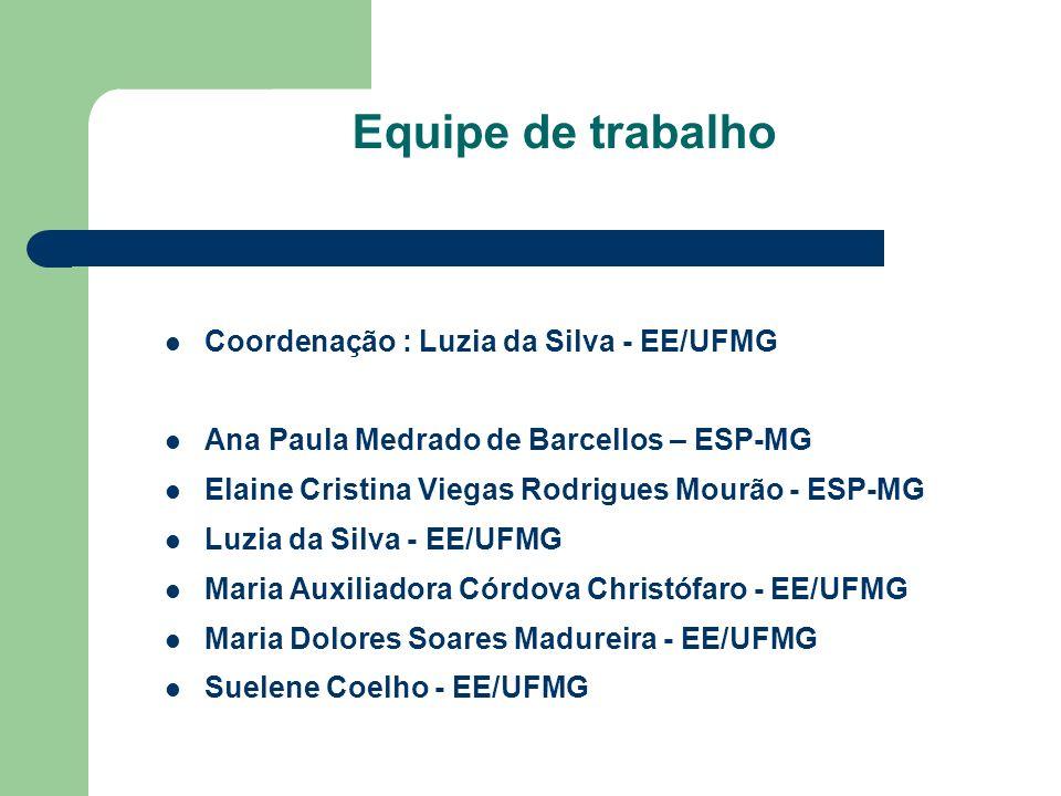 Equipe de trabalho Coordenação : Luzia da Silva - EE/UFMG