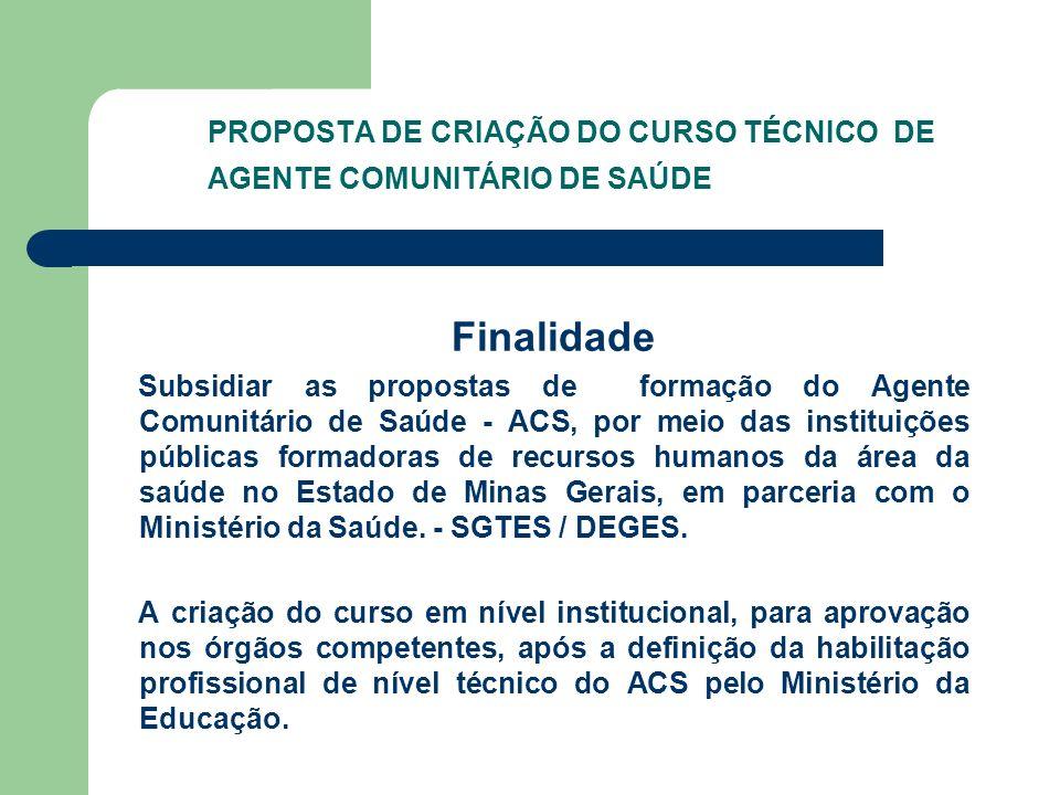 PROPOSTA DE CRIAÇÃO DO CURSO TÉCNICO DE AGENTE COMUNITÁRIO DE SAÚDE