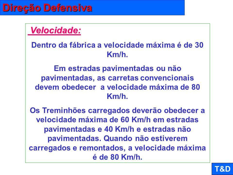 Dentro da fábrica a velocidade máxima é de 30 Km/h.