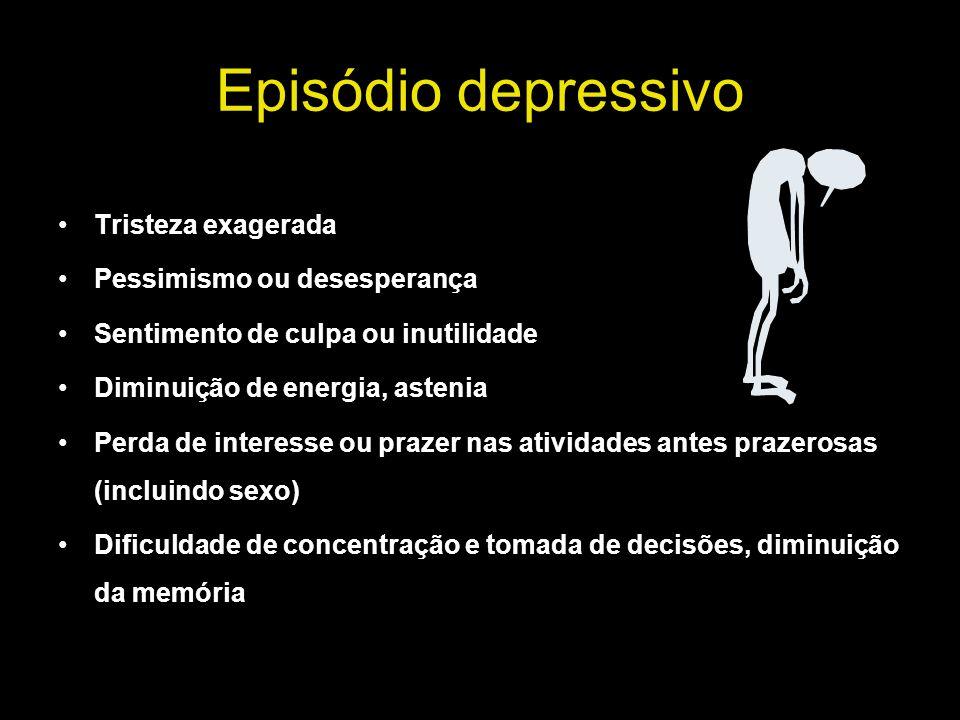 Episódio depressivo Tristeza exagerada Pessimismo ou desesperança