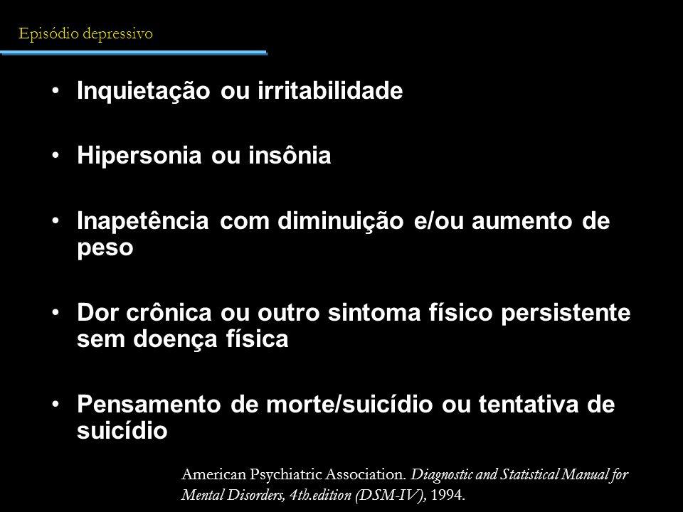 Inquietação ou irritabilidade Hipersonia ou insônia
