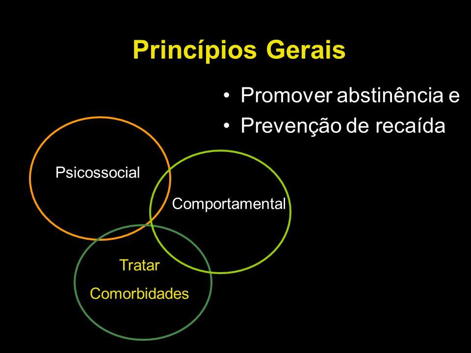 Princípios Gerais Promover abstinência e Prevenção de recaída