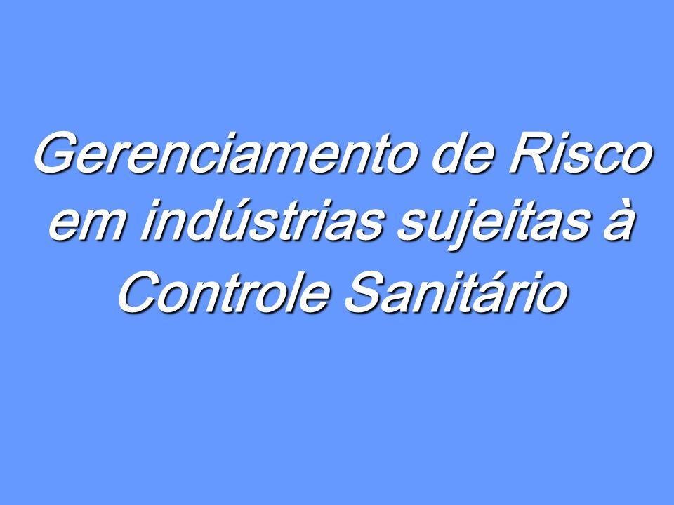 Gerenciamento de Risco em indústrias sujeitas à Controle Sanitário