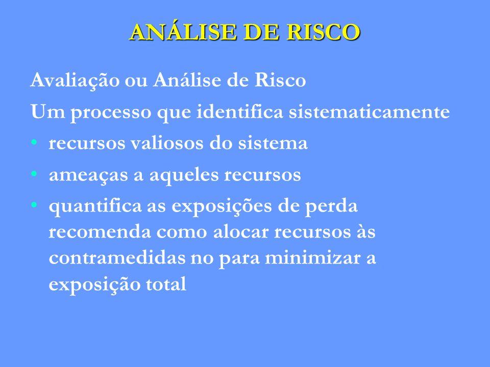 ANÁLISE DE RISCO Avaliação ou Análise de Risco